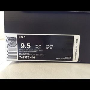 the best attitude af0f2 03a4f Nike Shoes - Nike KD 8 Blue Red White Size 9.5 New 4th of July